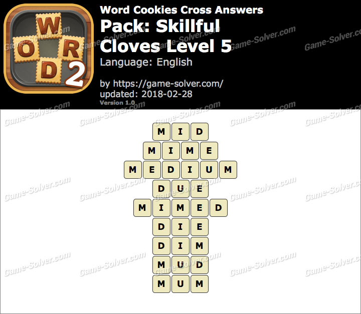 Word Cookies Cross Skillful-Cloves Level 5 Answers