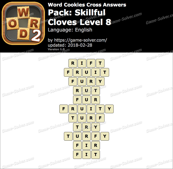 Word Cookies Cross Skillful-Cloves Level 8 Answers