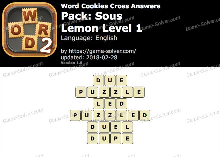Word Cookies Cross Sous-Lemon Level 1 Answers