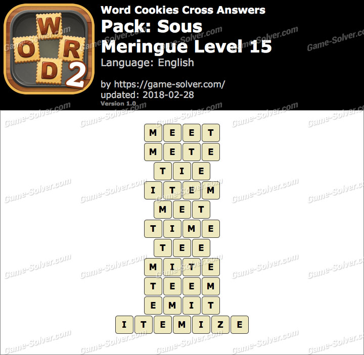 Word Cookies Cross Sous-Meringue Level 15 Answers