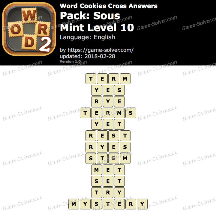 Word Cookies Cross Sous-Mint Level 10 Answers