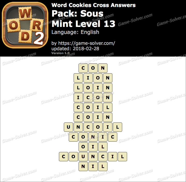 Word Cookies Cross Sous-Mint Level 13 Answers