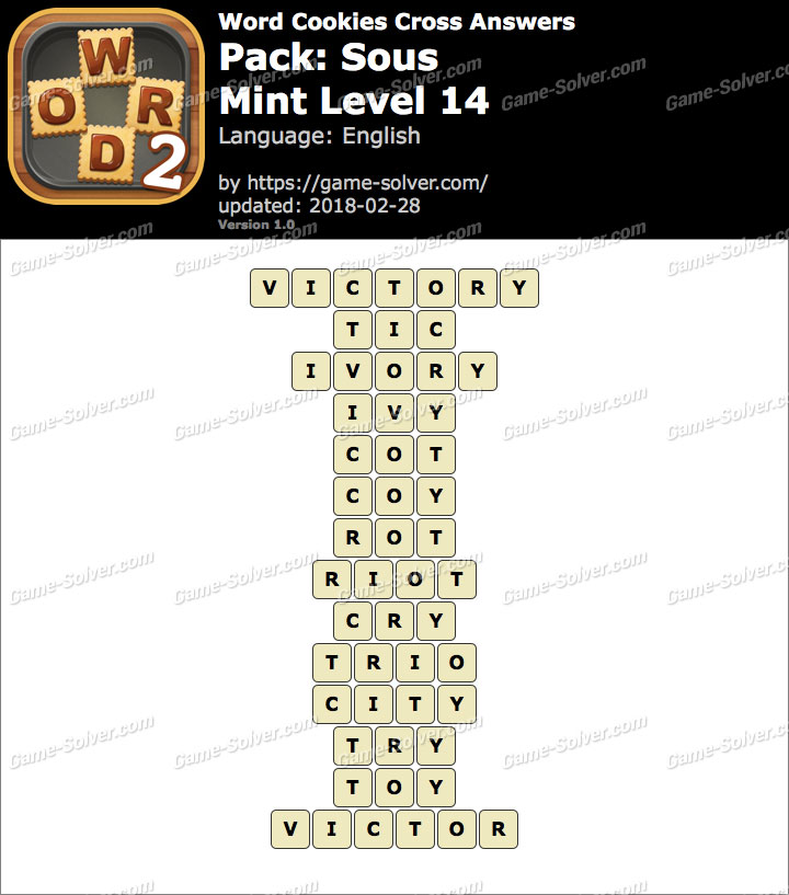 Word Cookies Cross Sous-Mint Level 14 Answers