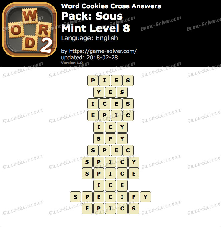 Word Cookies Cross Sous-Mint Level 8 Answers
