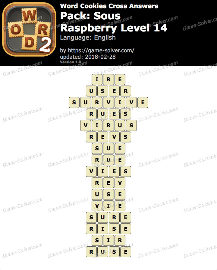 Word Cookies Cross Sous-Raspberry Level 14 Answers
