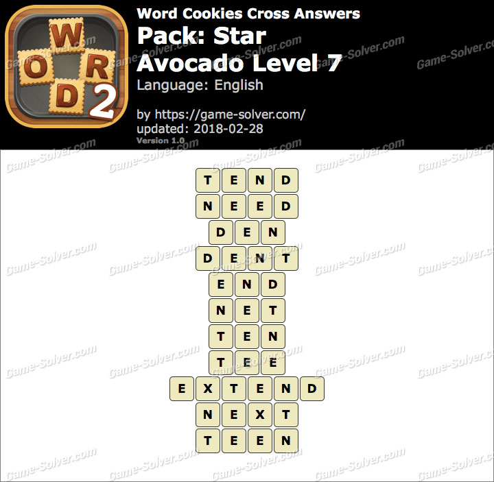 Word Cookies Cross Star-Avocado Level 7 Answers