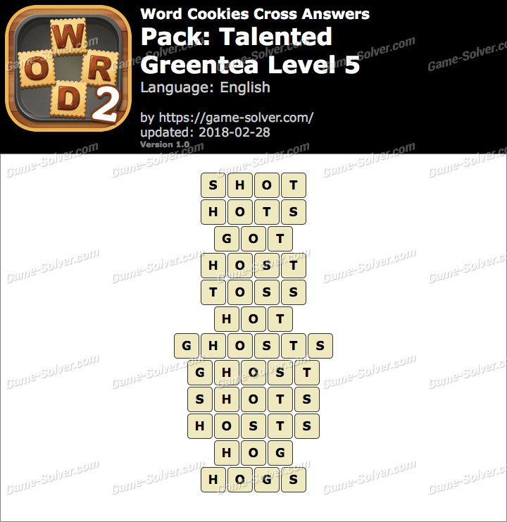 Word Cookies Cross Talented-Greentea Level 5 Answers