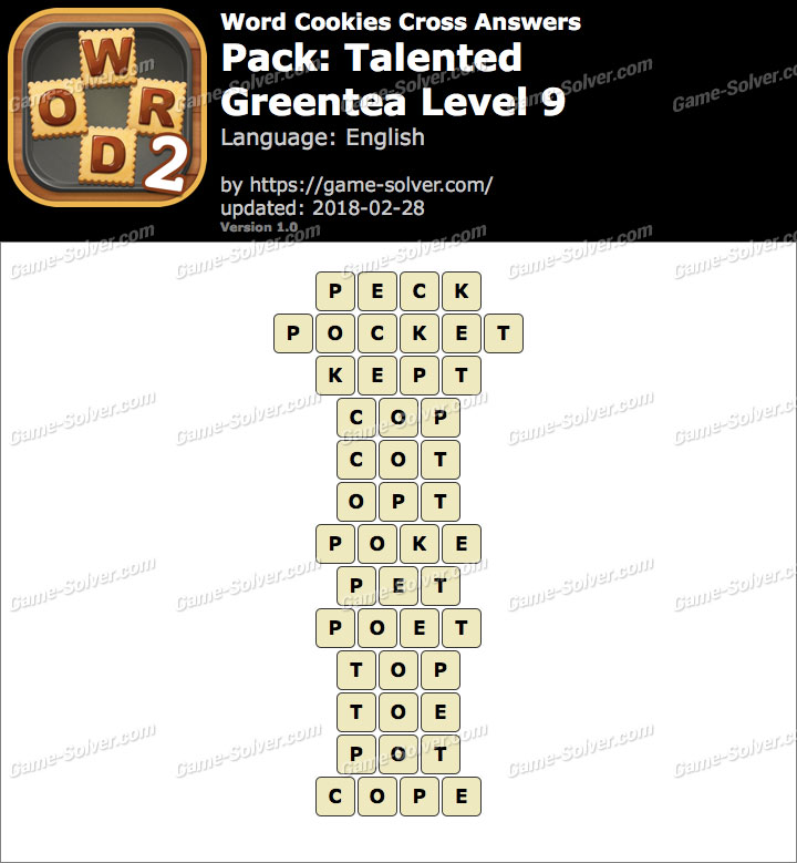 Word Cookies Cross Talented-Greentea Level 9 Answers