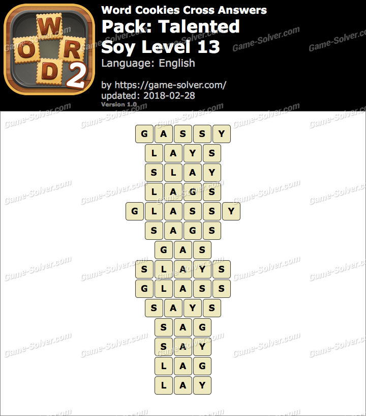 Word Cookies Cross Talented-Soy Level 13 Answers