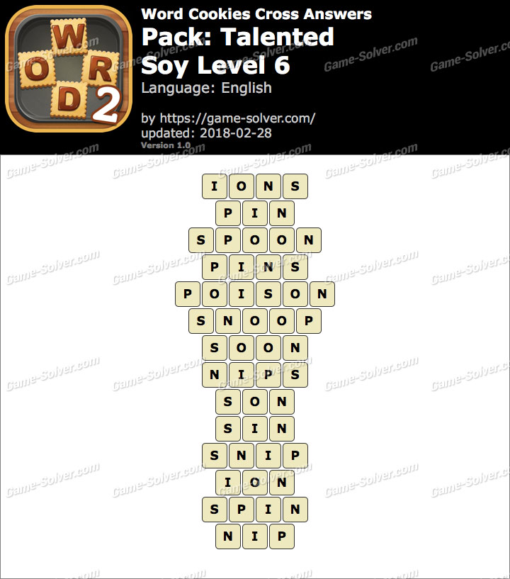 Word Cookies Cross Talented-Soy Level 6 Answers