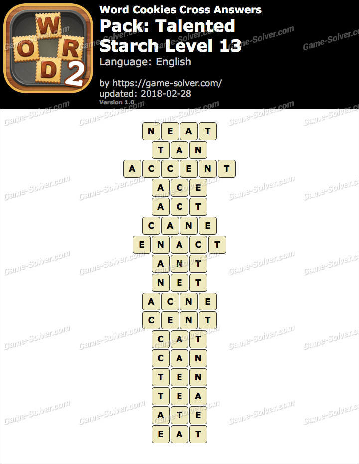 Word Cookies Cross Talented-Starch Level 13 Answers