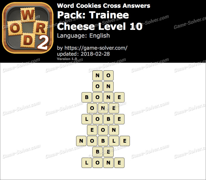 Word Cookies Cross Trainee-Cheese Level 10 Answers
