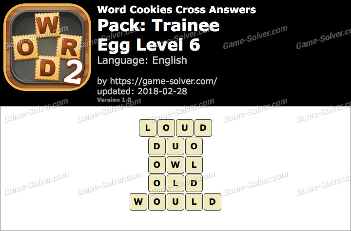Word Cookies Cross Trainee-Egg Level 6 Answers