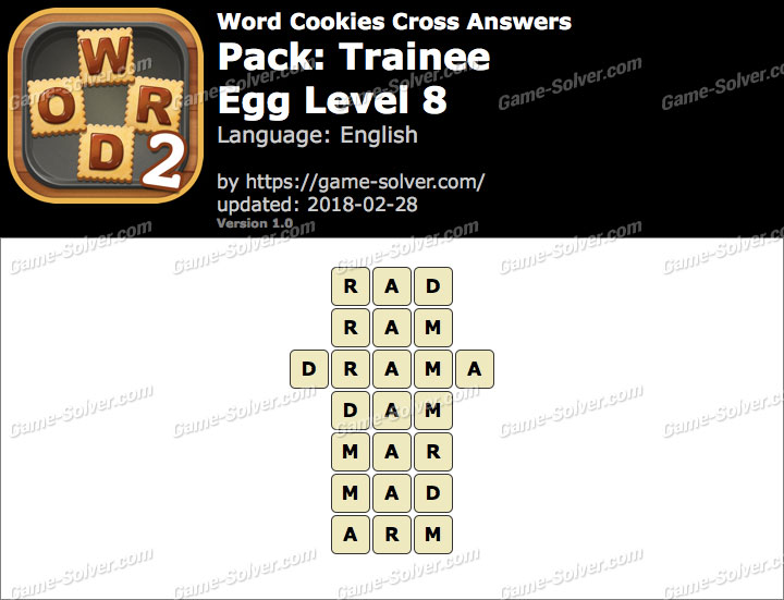 Word Cookies Cross Trainee-Egg Level 8 Answers