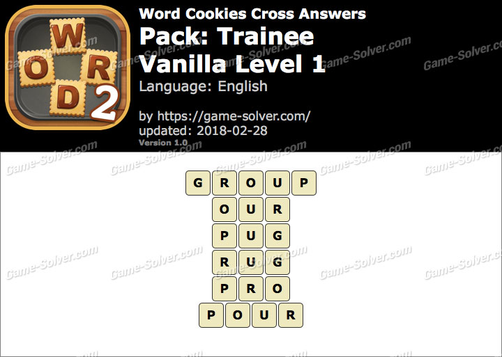 Word Cookies Cross Trainee-Vanilla Level 1 Answers