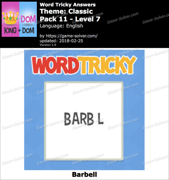 Word Tricky Classic Pack 11-Level 7 Answers
