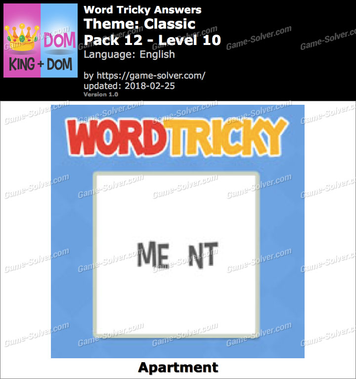 Word Tricky Classic Pack 12-Level 10 Answers