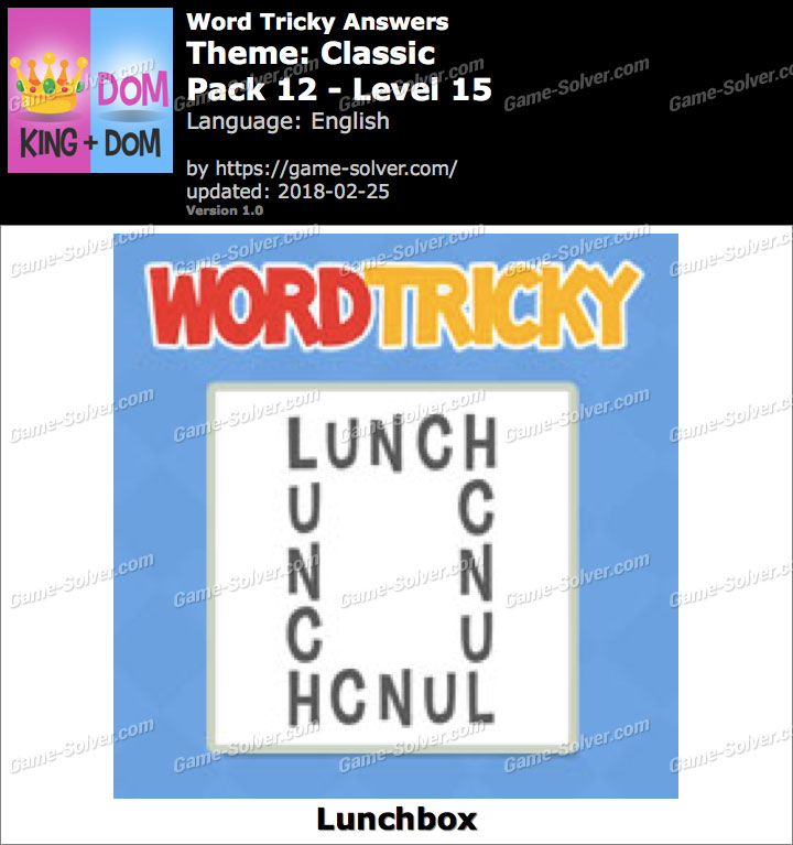 Word Tricky Classic Pack 12-Level 15 Answers
