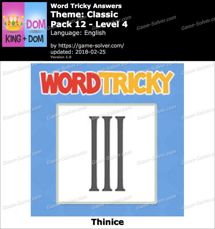 Word Tricky Classic Pack 12-Level 4 Answers