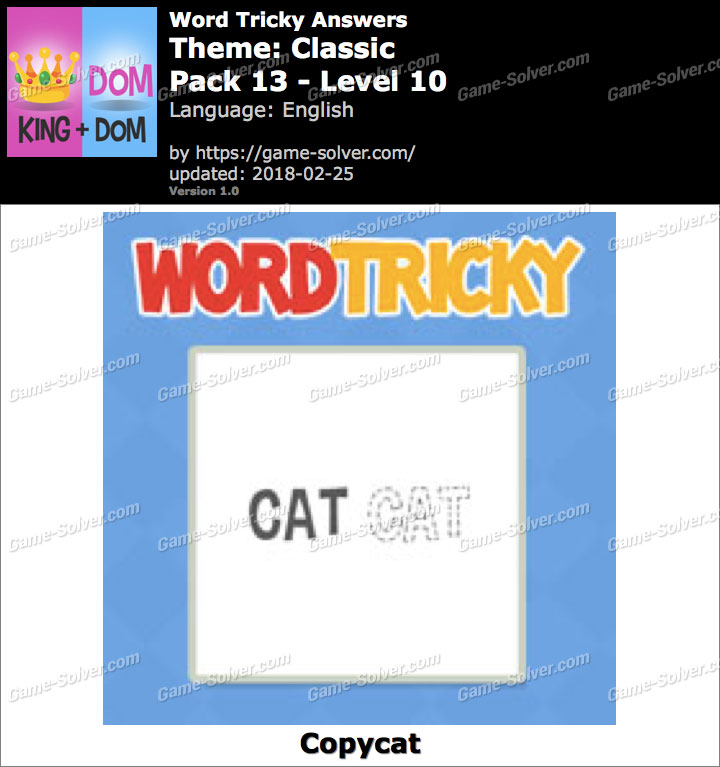 Word Tricky Classic Pack 13-Level 10 Answers