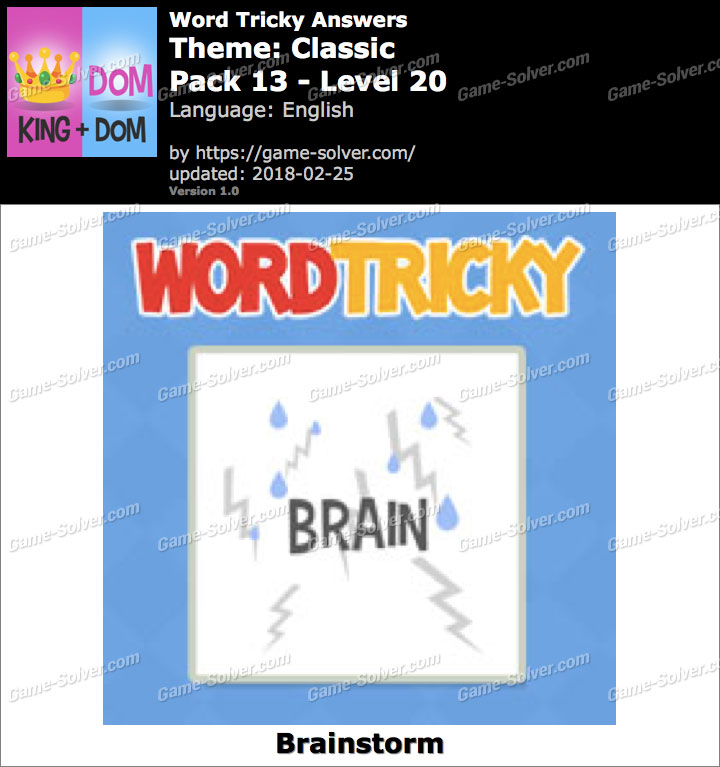 Word Tricky Classic Pack 13-Level 20 Answers