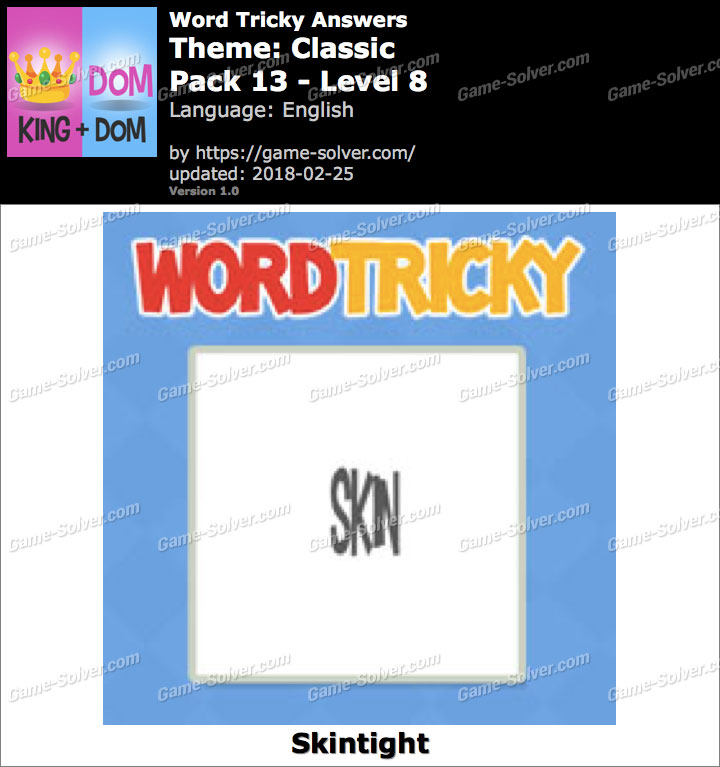 Word Tricky Classic Pack 13-Level 8 Answers