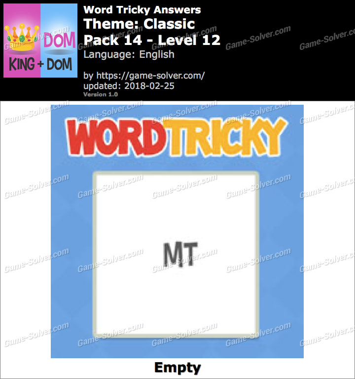 Word Tricky Classic Pack 14-Level 12 Answers