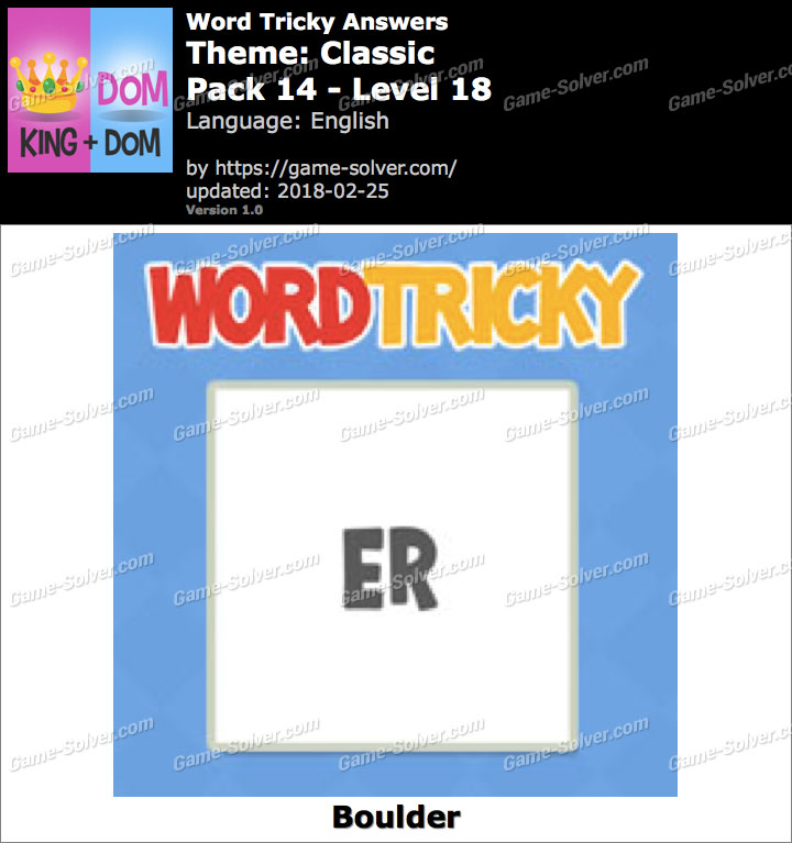 Word Tricky Classic Pack 14-Level 18 Answers