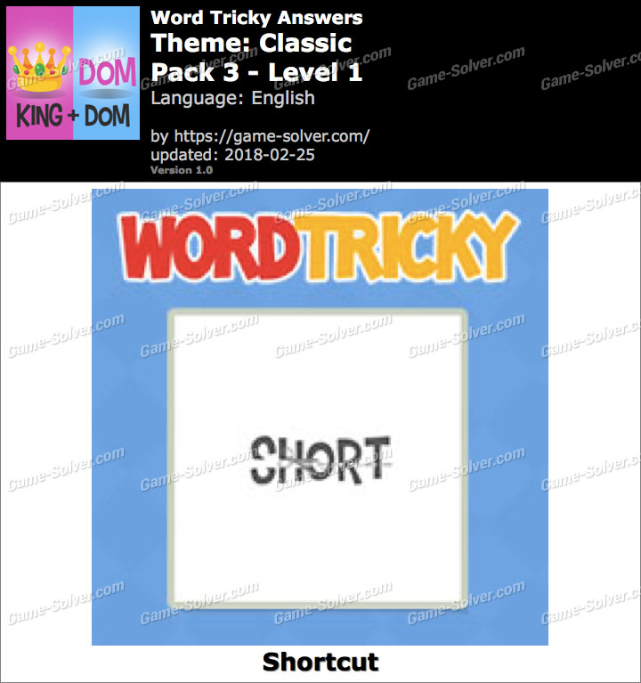 Word Tricky Classic Pack 3-Level 1 Answers