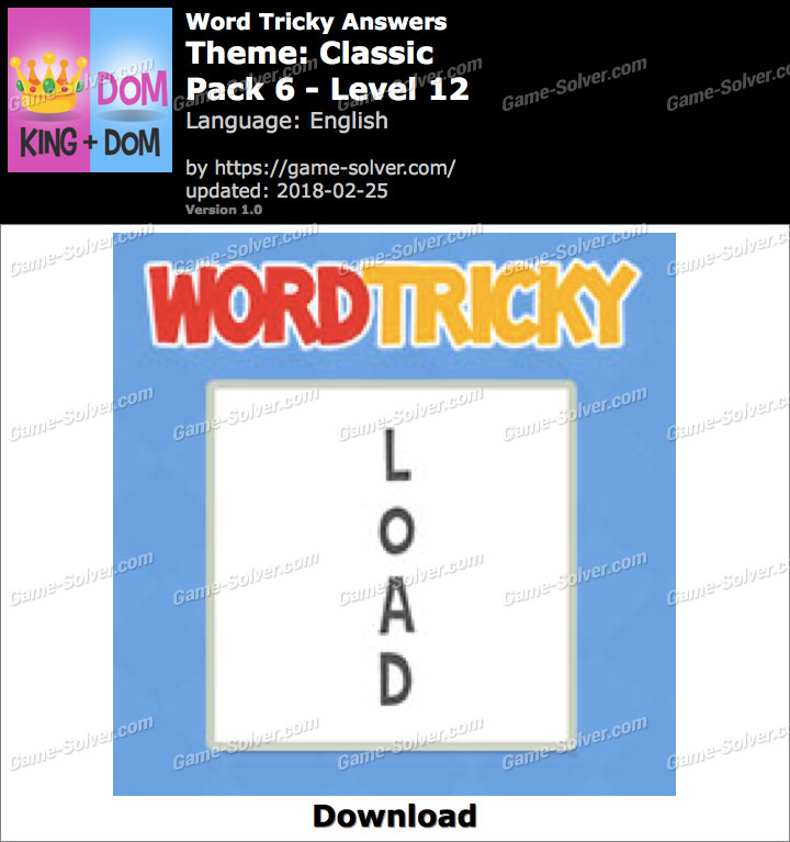Word Tricky Classic Pack 6-Level 12 Answers