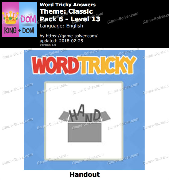 Word Tricky Classic Pack 6-Level 13 Answers