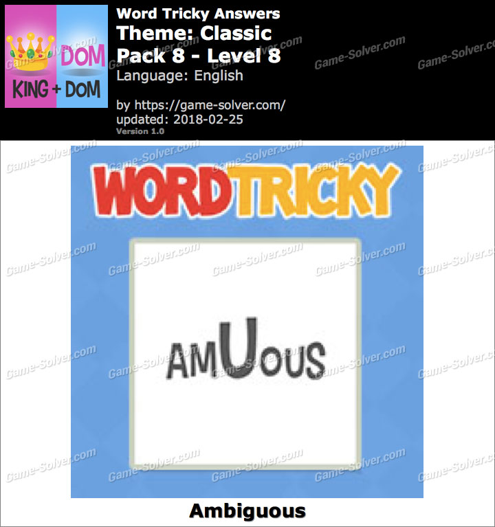 Word Tricky Classic Pack 8-Level 8 Answers