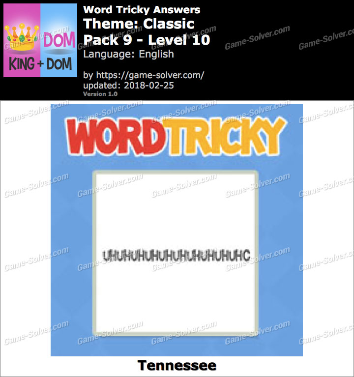 Word Tricky Classic Pack 9-Level 10 Answers
