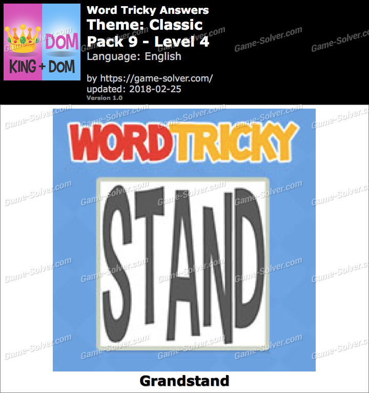 Word Tricky Classic Pack 9-Level 4 Answers