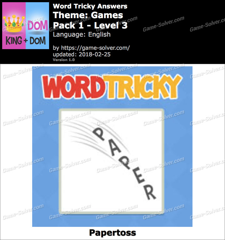 Word Tricky Games Pack 1-Level 3 Answers