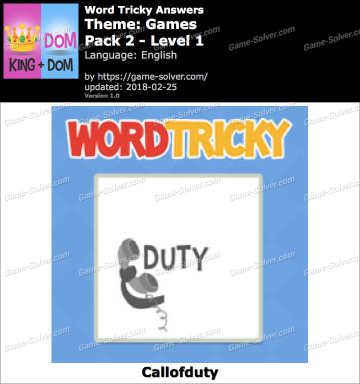 Word Tricky Games Pack 2-Level 1 Answers