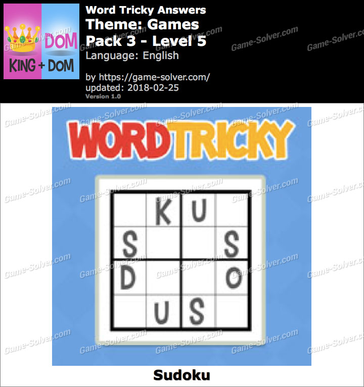 Word Tricky Games Pack 3-Level 5 Answers