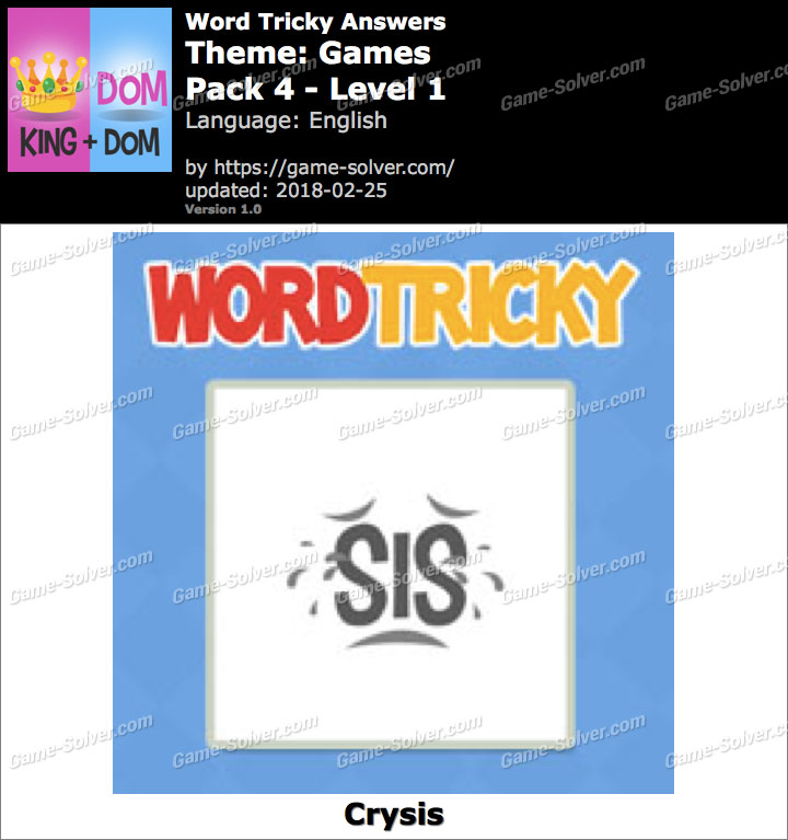 Word Tricky Games Pack 4-Level 1 Answers