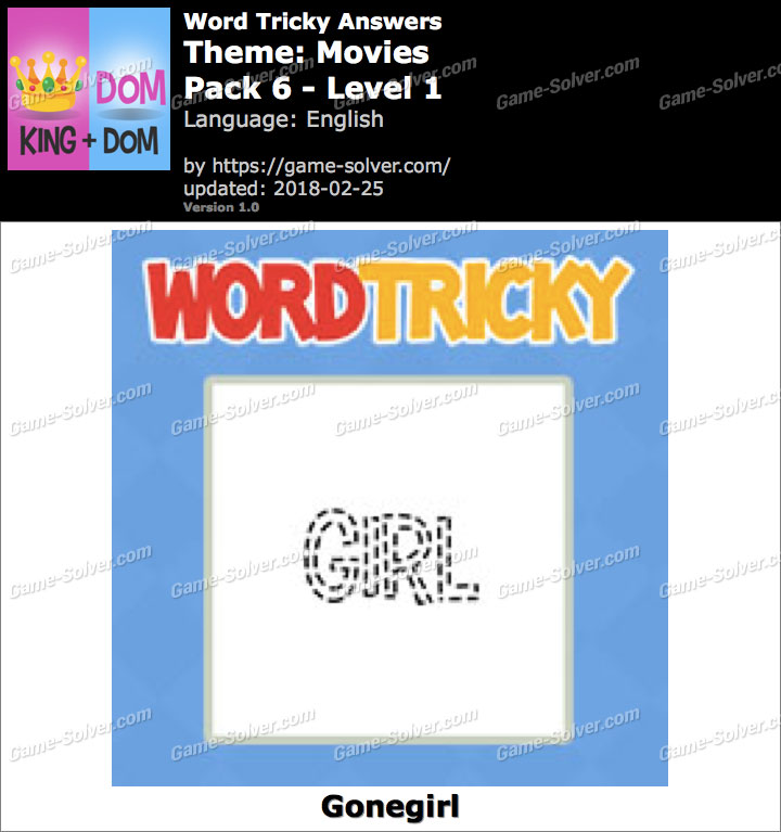 Word Tricky Movies Pack 6-Level 1 Answers