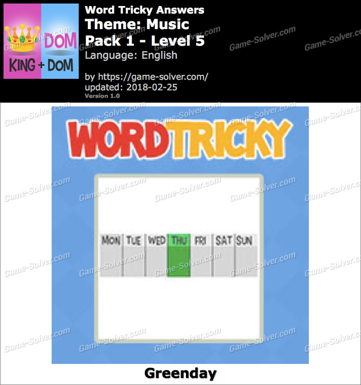 Word Tricky Music Pack 1-Level 5 Answers