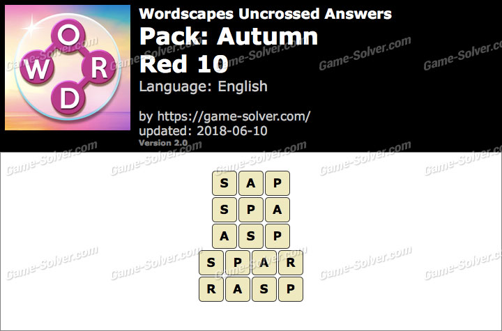 Wordscapes Uncrossed Autumn-Red 10 Answers