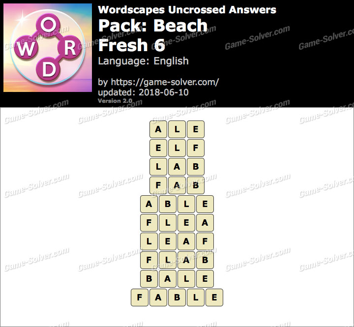 Wordscapes Uncrossed Beach-Fresh 6 Answers
