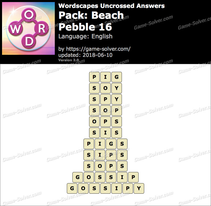 Wordscapes Uncrossed Beach-Pebble 16 Answers