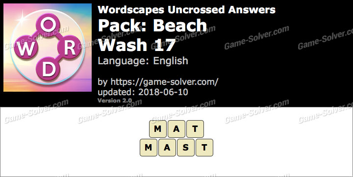 Wordscapes Uncrossed Beach-Wash 17 Answers