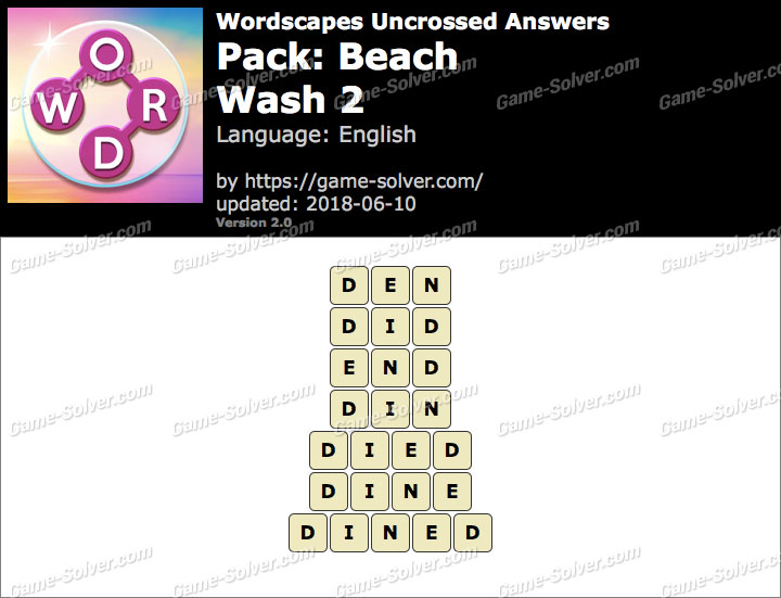 Wordscapes Uncrossed Beach-Wash 2 Answers