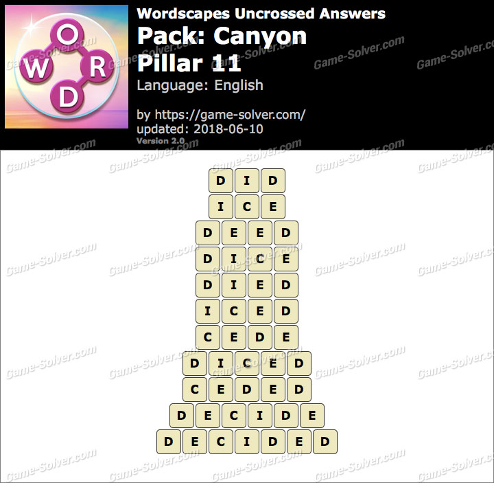 Wordscapes Uncrossed Canyon-Pillar 11 Answers
