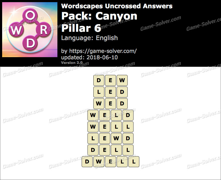 Wordscapes Uncrossed Canyon-Pillar 6 Answers
