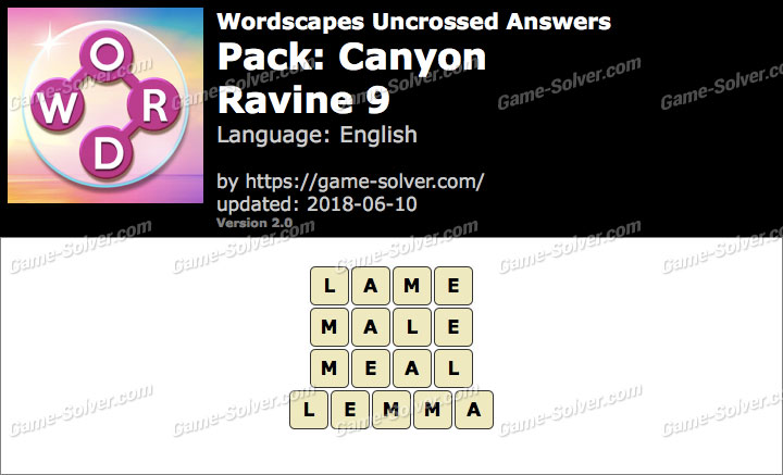 Wordscapes Uncrossed Canyon-Ravine 9 Answers