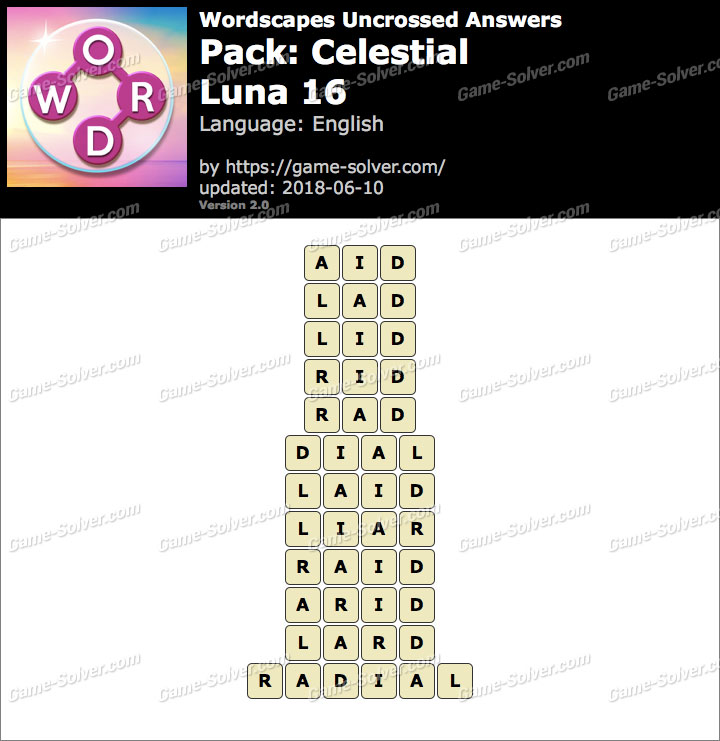 Wordscapes Uncrossed Celestial-Luna 16 Answers