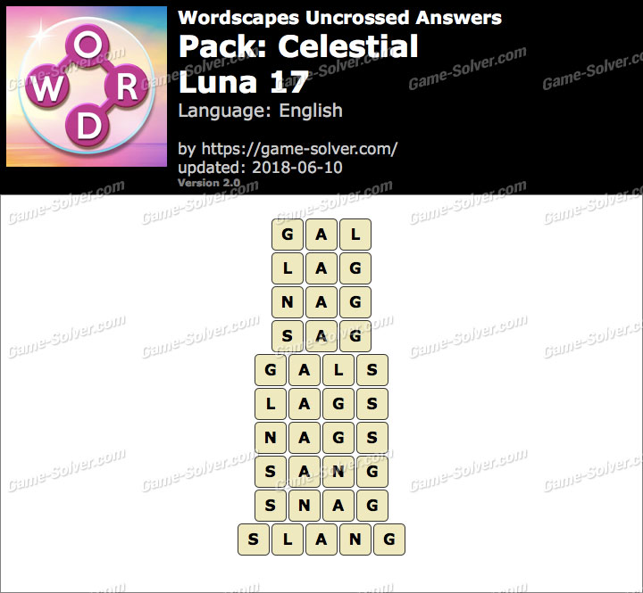 Wordscapes Uncrossed Celestial-Luna 17 Answers